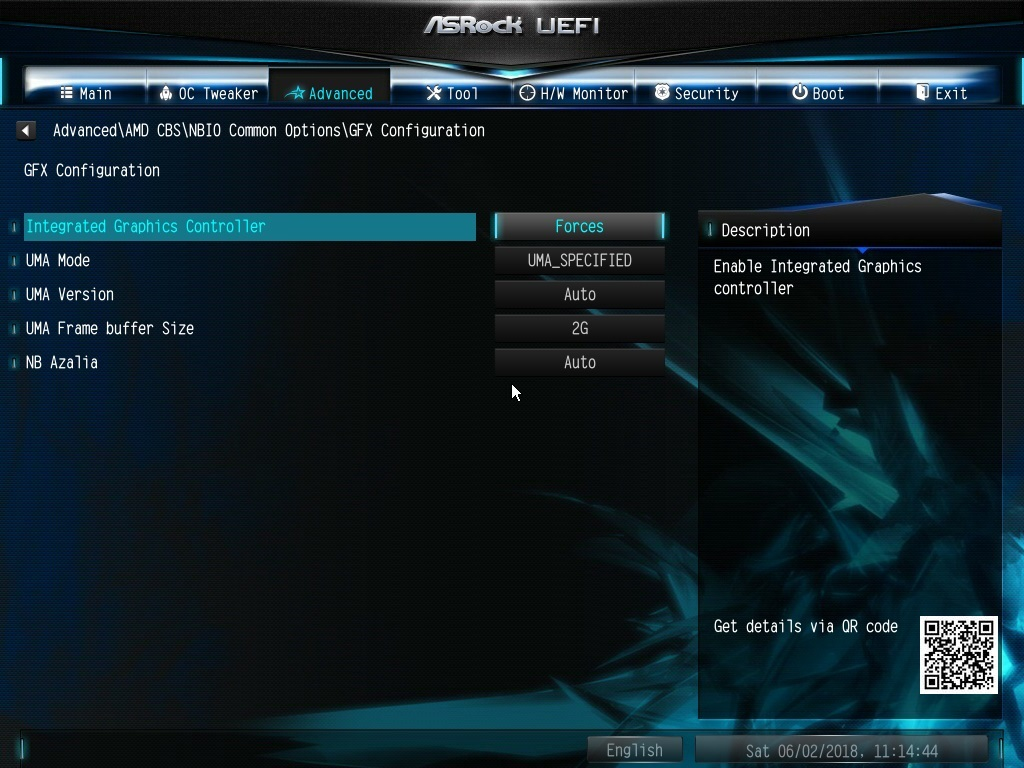 ASRock A320M HDV Graphics Configuration